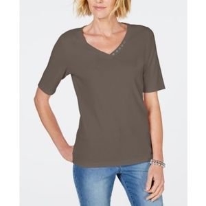 Karen Scott Women's Cotton V-Neck T-Shirt